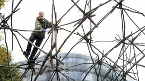 Martin Rajniš's Dome of Chaos built from branches and zip ties