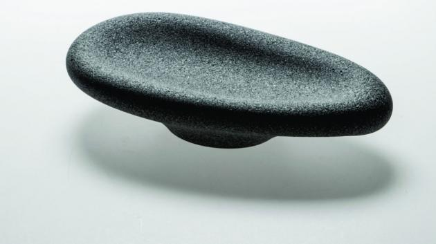 The shapes of bowls, smoothed by abrasive blasting, reminiscent of rounded riverbed pebbles, express something prehistoric, something that existed from the beginning of time without influence by human hand.